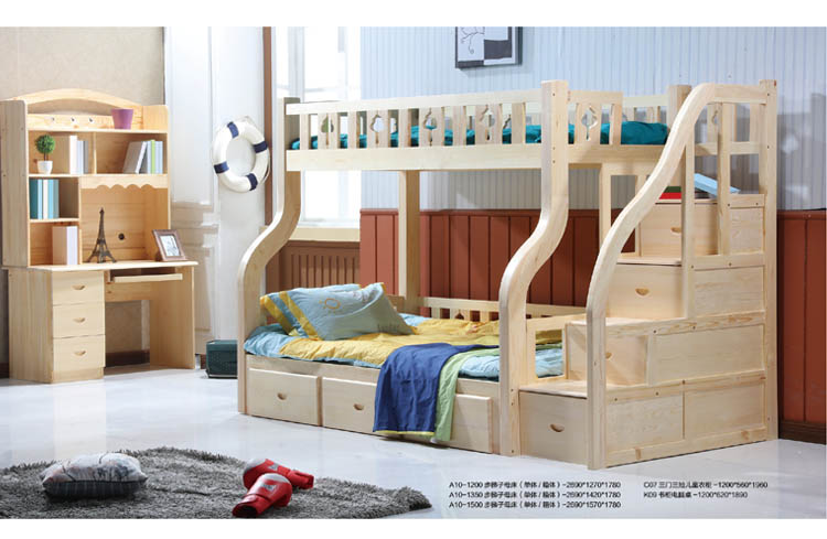 松木家具儿童房子母床